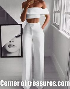 Product Sexy Bare Back Sloping Shoulder Sleeveless Pure Colour Suit Brand Name Naychic SKU Gender Women Item Type Suit Pattern Type Pure C Suit Fashion, Fashion Pants, Look Fashion, Fashion Dresses, Fashion Jumpsuits, Ladies Fashion, Fashion Clothes, High Fashion, Womens Jumpsuits