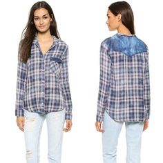 NWOT Bella Dahl Mixed Pocket Button Down Flannel This Bella Dahl plaid shirt gets a casual touch from the aged chambray on the shoulders and breast pocket flap. Button placket and fold-over collar. Long sleeves. Fabric: Plain weave. 100% cotton. SIZE M - NWOT - PERFECT CONDITION! BLUE/CRIMSON/WHITE PATTERN Bella Dahl Tops Button Down Shirts