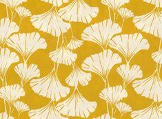 "ginkgo leaves print fabric -mustard yellow- Organic cotton fabric - 18"" x 28"" Wide fat quarter $10.50"