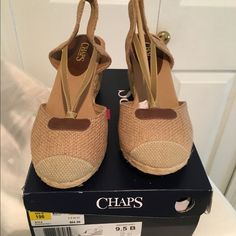 "Chaps natural burlap wedge sandal. Size 9.5M New in the box classic wedge sandal. The elastic straps over instep offer comfort for wider width. Leather trim accent. 3"" wedge heel. Sz 9.5M. Chaps Shoes Espadrilles"