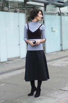 Yasmin Sewell's way to wear a crop top is Winter-proof. Street Style London Fashion Week #LFW