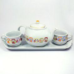 Cj Chá Porcelana Corujas 4pçs