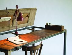desk made of recycled doors