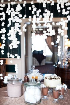 Hot Chocolate bar with a marshmallow chandelier! How cute is this?!