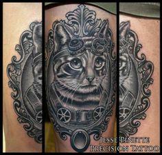 Black and grey steam punk cat by Jesse Pinette #InkedMagazine #InkedMag #Inked #cat #portrait #steampunk #blackandgrey #tattoo #tattoos
