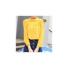 Slim-Fit Stand-Collar Blouse ($15) ❤ liked on Polyvore featuring tops, blouses, women, stand-collar blouses, yellow top, slimming tops, yellow blouse and slimming blouses