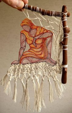 Macrame art=Textile art by Hungarian artist Agnes Herczeg - Inspiration - Art Fibres Textiles, Textile Fiber Art, Textile Artists, Weaving Art, Tapestry Weaving, Loom Weaving, Weaving Projects, Art Du Fil, Macrame Art