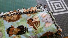 Fleece blanket safari theme, tie knotted blanket