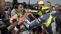 Marc Marquez with his hero :') Valentino Rossi