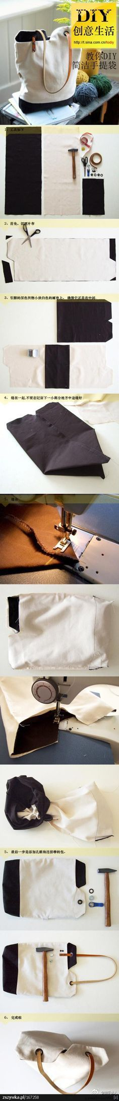 LOVE THE HANDLES DIY Canvas Bag! This is a great How to on how to make a simple carry all. Use your fabric materials such as velvet, flannel, felt or burlap to make your own two tone bag. Just thought this was cool! Sewing Hacks, Sewing Tutorials, Sewing Crafts, Sewing Projects, Diy Crafts, Diy Sac Pochette, Ideas Paso A Paso, Simple Bags, Easy Bag