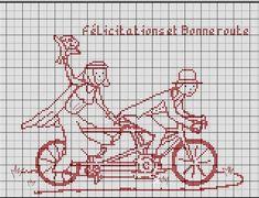 amour - love - tandem - point de croix - cross stitch - Blog : http://broderiemimie44.canalblog.com/