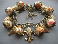 French Charm Bracelet  Victorian Jewelry  by SilverTrumpetJewelry, $57.00