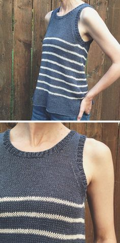 """Togue Stripes by Pam Allen ...... wonderful mod notes on Karen Templers site """"— Knitted it in the Kestrel yarn (in Pebble and Senza) using the Togue Pond pattern (second size). — Omitted the waist ribbing and short-row shaping — I simply did one purl round after the cast-on and then worked straight in stockinette"""""""