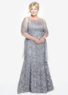 Plus Size Glitter Lace Long Sleeve Mother of Bride/Groom Dress ...