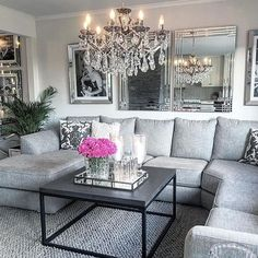 Modern And Glam Living Room Decorating Glam Living Room, Condo Living, Living Room Grey, Apartment Living, Home And Living, Living Room Decor, Living Room Ideas Modern Grey, Modern Decor, Living Rooms