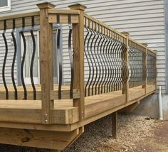 Here is the deck railing option: Landscape Retaining Wall. This retaining wall is a great choice for deck railing. Pallet Pallet Recycling. Wagon Wheel Deck Railing. Branch of Tree Jewelry. The 'Cracked Ice' Deck Railing. Wooden Box Screen. Terrace Lattice Panel. Deck with Posts Installed Outside. #deckrailing #deckrailingideas #deckrailingdesign