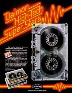 design-is-fine: Daimon Cassette advertisement Germany. Vintage Music, Vintage Ads, Radios, 80s Ads, Light Grid, Cassette Recorder, Cassette Tape, Bond, Retro Images