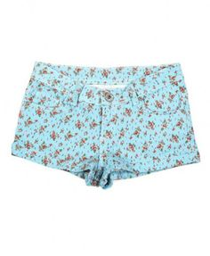 Low Rise Denim Shorts in Floral Cluster Print