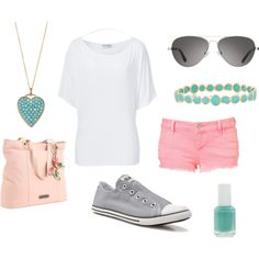 Easy Summer Pink, Gray, & Turquoise, created by lissy-rose-erickson.polyvore.com