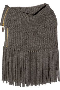 GUCCI, Fringed alpaca and wool-blend poncho | wide scarf doubled over and double ended opening zipper