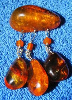 Large Old Antique Honey Cognac Natural Baltic Amber Brooch Stone 24.5 老琥珀