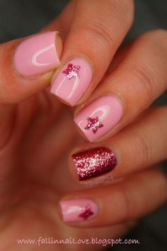 Rosa baby.... Con barniz en rosa con glitter...
