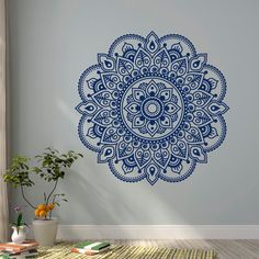 Muur sticker Mandala Ornament Lotus bloem Yoga door FabWallDecals