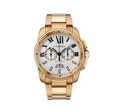 Cartier Calibre Chronograph Rose Gold Men's watch equipped with Swiss made Cartier 1904-CH calibre automatic movement. The 42.00 mm rose gold round case features a opaline silver with rose gold counte
