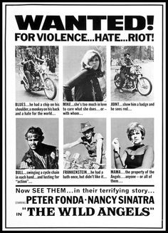 'The Wild Angels' - 1966 film poster, starring Peter Fonda and Nancy Sinatra.