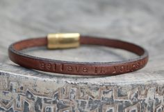 Personalized Graduation Gift Leather Bracelet. Brown Leather.