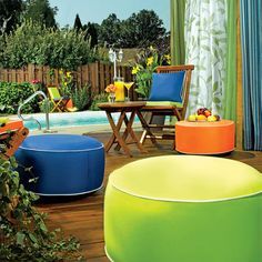 Outdoor Ottoman: Inflatable Ottoman in 6 Colors   Gardeners.com