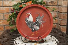 rooster and chicken decorations for kitchen | Rooster Handpainted Upcycled Tray..Barn Red..Kitchen Decor..Rooster ...