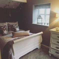 This beautiful bedroom belongs to dressyourhouse1 and features our Claudette Sleigh Bed Frame and Romance Drawers.