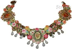 Michal Negrin Antique Style Flowers Cameos Multicolor Lace Necklace