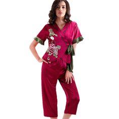 Short Satin Pajamas Women   fashjourney.com