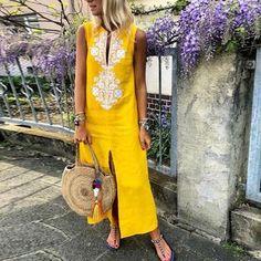 Cotton/Line Casual V-Neck Maxi Dress
