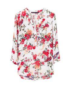 BLUSA ESTAMPADA FLORES - Camisas - Mujer | ZARA España, Agosto 2013
