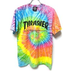 Thrasher Tie Dye ❤ liked on Polyvore featuring tops, shirts, t-shirts, tye dye shirts, tie die shirts, shirt top, tie-dye crop tops and tie-dye shirts