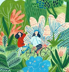 Josefina Schargorodsky Forest Illustration, People Illustration, Pattern Illustration, Children's Book Illustration, Cartoon Illustrations, Collages, Painting Inspiration, Art Inspo, Beautiful Sketches