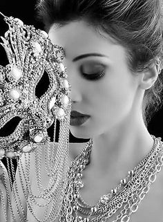 Silver and pearl mask