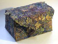 Liz Scobie - fabric box - creative machine embroidery and hand painting