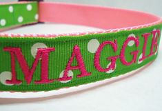Personalized Dog Collar with Apple Green and White Polka Dots on Etsy, $28.00