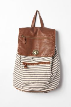 stripe leather backback