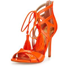 Sam Edelman Azela Strappy Patent Tassel Sandal ($160) ❤ liked on Polyvore featuring shoes, sandals, neon orange, self tying shoes, patent leather sandals, sam edelman sandals, sam edelman shoes and neon sandals