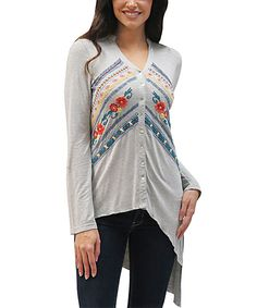 Look at this Caite Light Gray Embroidered Dharma Button-Up Tunic on #zulily today!