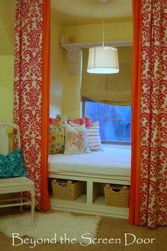 Pink Damask Curtains, Teen Girl's Bedroom, Beyond the Screen Door