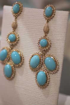 Elizabeth Showers Turquoise and Diamond Marilyn Earrings
