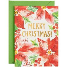 """This lovely note set features beautiful poinsettias and Merry Christmas greeting in gold foil. Inside message reads: """"JOY & PEACE to you this holiday season""""<br><br>10 - A6 folded cards (4.5"""