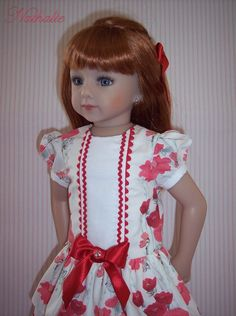 Tenue pour poupée Maru and Friends Red Frock, Glitter Girl, Flower Girl Dresses, Doll Dresses, How To Make Clothes, Beautiful Dolls, Frocks, American Girl, Doll Clothes