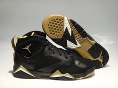 da5026194bc Nike Jordan 7 Retro Golden Moments Black Metallic Gold Sneakers GS Size 4